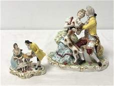 TWO GERMAN PORCELAIN FIGURAL GROUPINGS