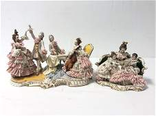 TWO DRESDEN STYLE PORCELAIN FIGURAL GROUPS