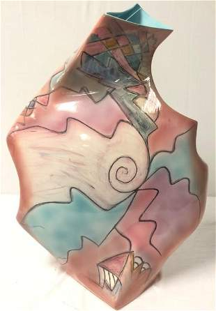 LARGE CONTEMPORARY ART POTTERY VASE BY HARRIS CIES