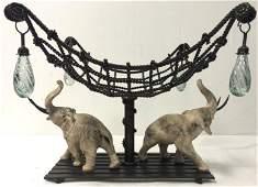 HILDA FLACK IRON & STONE ELEPHANT CENTERPIECE