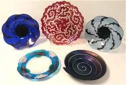 FIVE CLARITAS ART GLASS BOWLS / PLATES