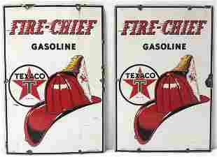 TWO TEXACO FIRE CHIEF GASOLINE PORCELAIN SIGNS