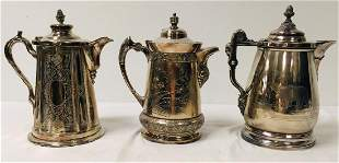 THREE VICTORIAN SILVER PLATED ICE WATER PITCHERS