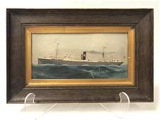 ANTIQUE 19TH C NAUTICAL STEAMLINER PAINTING ON TIN