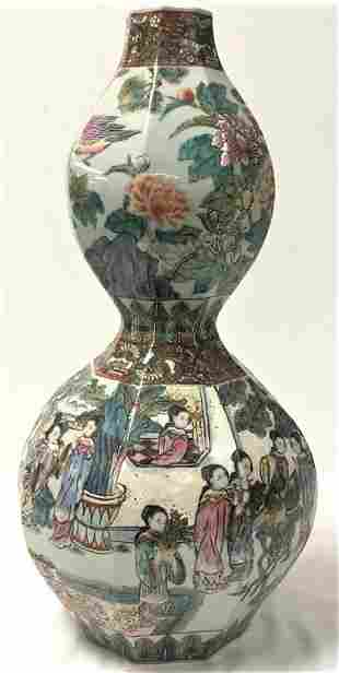 LARGE CHINESE FAMILLE ROSE DOUBLE GOURD STYLE VASE