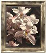 LARGE FRAMED OIL ON CANVAS PAINTING: BOAT ORCHIDS