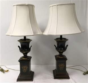 PAIR VINTAGE URN STYLE BLACK TOLEWARE TABLE LAMPS