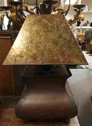 LARGE COPPER FINISH TABLE LAMP