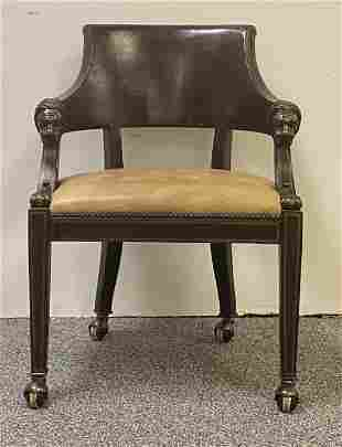 BAKER METAL MOUNTED LEATHER ARMCHAIR