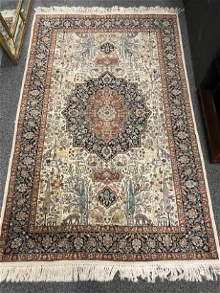 """INDIAN HAND KNOTTED WOOL RUG 4'7"""" X 7'3"""""""