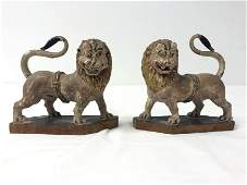 PR 17-18TH C CARVED POLYCHROME WOOD LIONS, VENETO