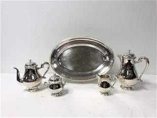CHRISTOFLE FIVE PIECE SILVER PLATED TEA SET