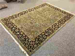 """VINTAGE INDIAN HAND KNOTTED WOOL RUG 6'3"""" X 9'5"""""""