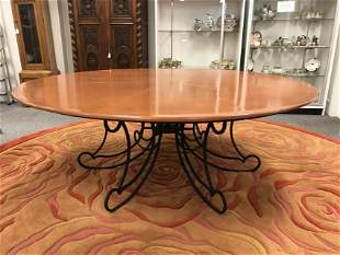 LARGE ROUND WOOD & SCROLLED IRON DINING TABLE