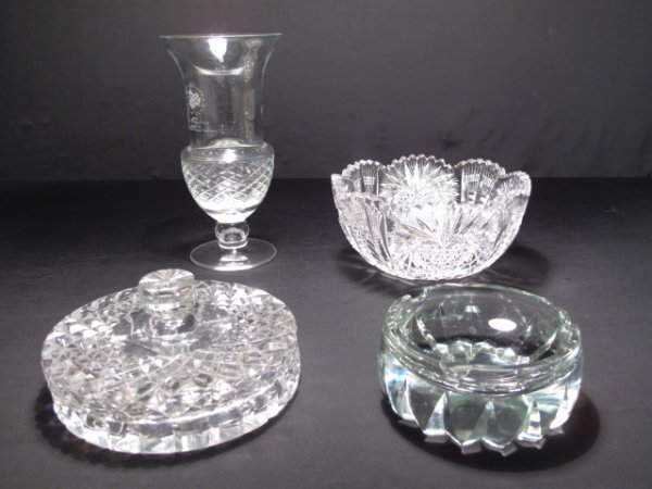 1: FOUR PIECES ASSORTED CLEAR CUT GLASS VASE BOWL