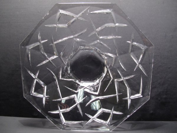 10: CUT GLASS CRYSTAL CENTERPIECE BOWL SIGNED