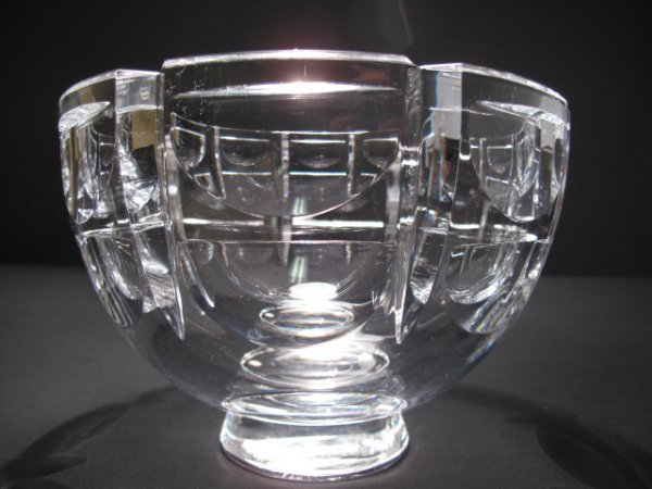 12: ORREFORS CRYSTAL ART GLASS FOOTED BOWL