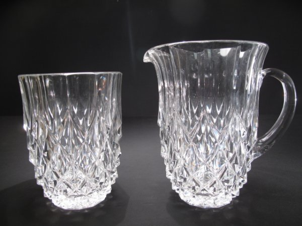 17: VAL ST LAMBERT CLEAR GLASS PITCHER AND VASE