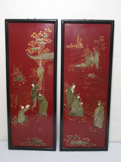 22: TWO ASIAN SOFT STONE & RED LACQUER WOOD PANELS
