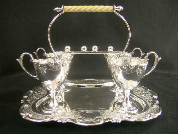 425: JOSEPH RODGERS SONS SILVER PLATE EGG CUPS TRAY