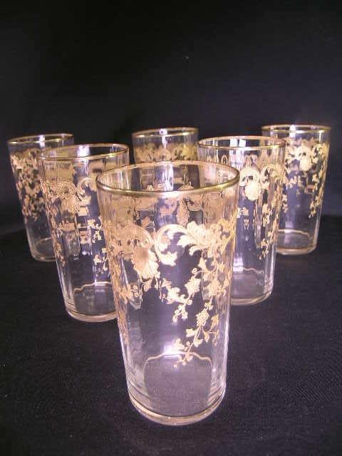 427: 6 DEPRESSION GLASS TUMBLERS GILT FLORAL