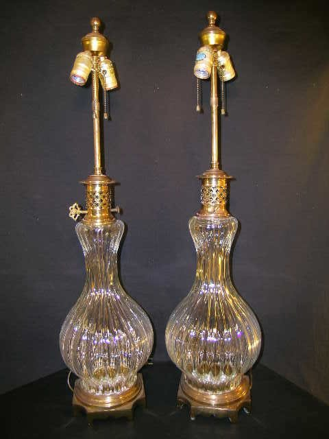 435: PAIR LARGE URN SHAPED BRASS GLASS LAMPS