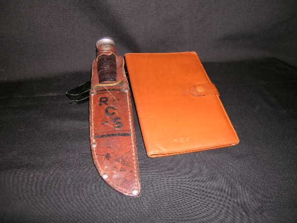 437: VINTAGE HUNTING KNIFE BY MARBLES LEATHER WALLET