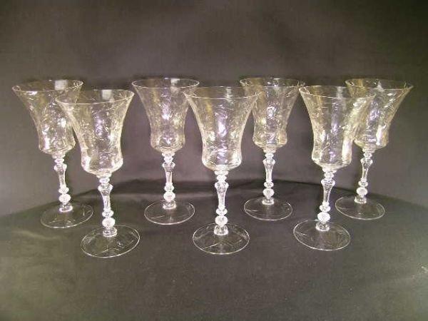 442: SEVEN VINTAGE CRYSTAL RED WINE STEMS GLASSES