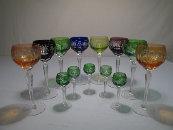 2: CUT TO CLEAR RHINE WINE STEMS (8pc) and 5 cordials