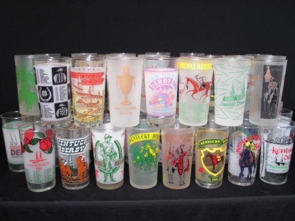 15: KENTUCKY DERBY GLASSES 46pc 1950's - 1990's