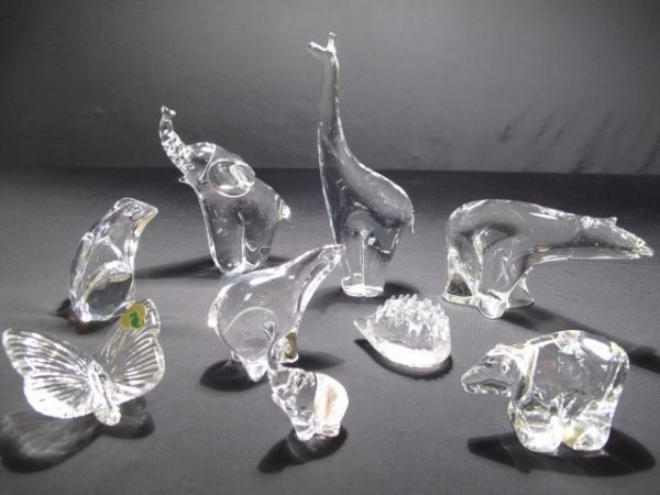 65: 9 CRYSTAL GLASS ANIMAL FIGURES WATERFORD ORREFORS