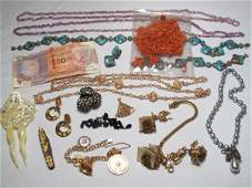 83: 15 PCS. VINTAGE JEWELRY HASKELL, CORAL, VENETIAN