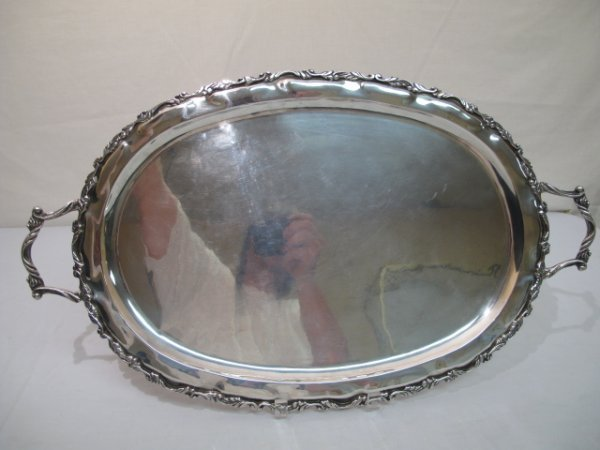 110: HAND HAMMERED STERLING SILVER TWO HANDLE TRAY 49tr