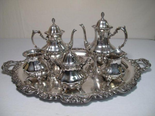 128: POOLE STERLING SILVER COFFEE TEA SET 6pc 237 troy