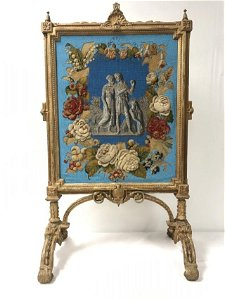 FRENCH ANTIQUE GILTWOOD & EMBROIDERED FIRE SCREEN