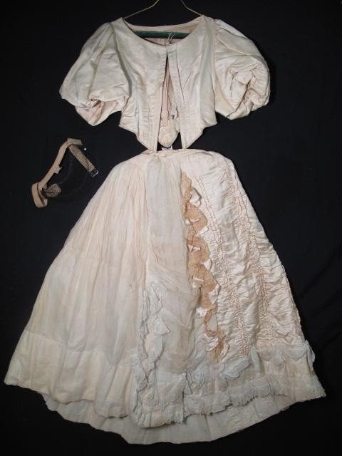 22: VINTAGE 1880S SATIN BODICE AND SKIRT