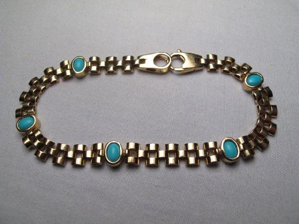203: 14kt GOLD AND TURQUOISE BRACELET