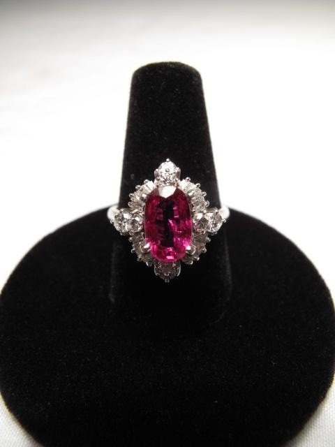212: PLATINUM RUBY AND DIAMOND RING