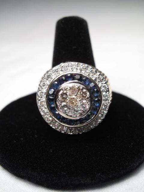 216: 14KT  GOLD SAPPHIRE DIAMOND RING