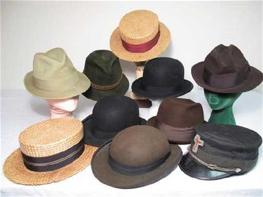 fde7c4e9517d5 281  10 VINTAGE MENS HATS 1890 S DERBY STRAW BOWLERS ET