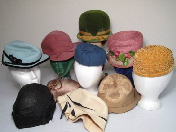 372: 10 VINTAGE LADIES HATS MR A HATS ALYCE CREUTION