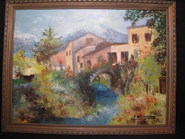 3: I. WEINMAN: PAINTING ON BOARD - CANAL SCENE