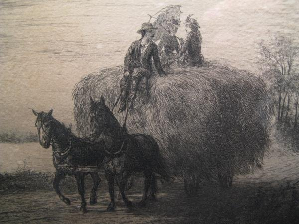 17: RICH'D W. RUMMELL ENGRAVING - HAY RIDE w/ FIGURES