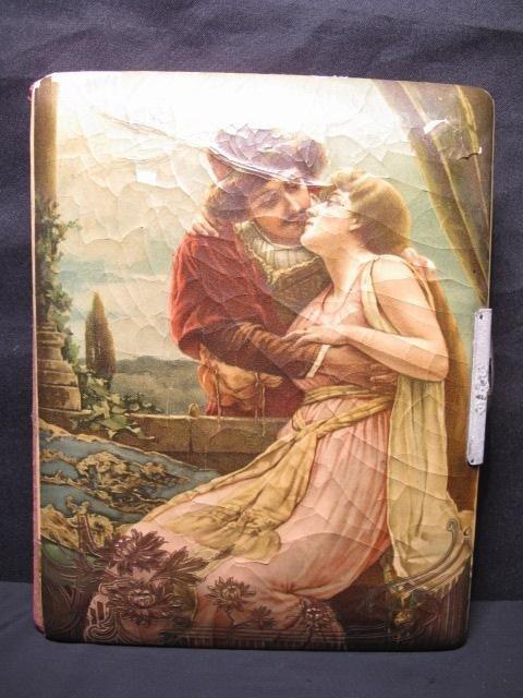 20: ANTIQUE CELLULOID PHOTO ALBUM ROMANTIC SCENE