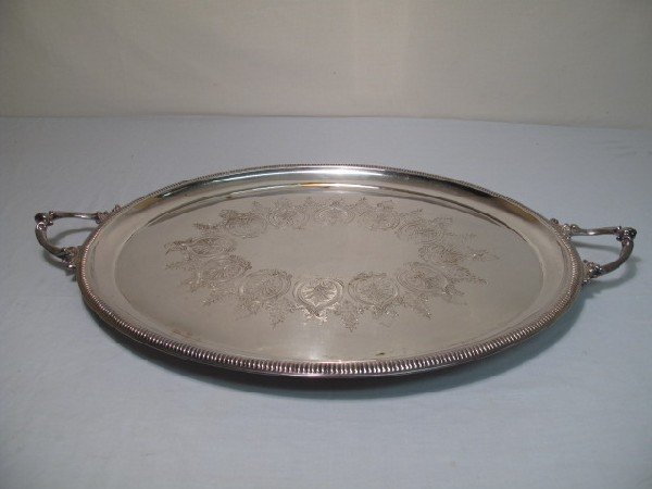 23: LARGE OVAL SILVER PLATE FOOTED SERVING TRAY