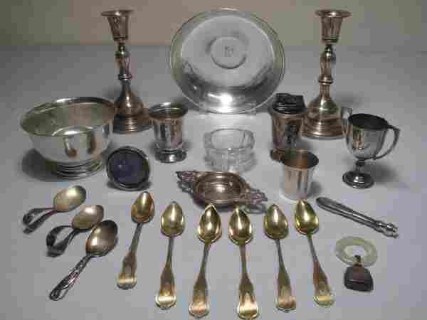 72: ASSORTED STERLING SILVER LOT CANDLESTICKS BOWLS