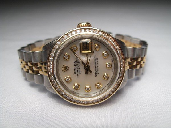 160: ROLEX LADIES DATEJUST TWO TONE WRIST WATCH