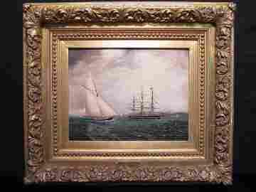 214: J. E. BUTTERSWORTH PAINTING VIXEN & USS CONSTITUTI