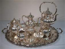 226 MEXICAN 925 STERLING SILVER TEA SET  TRAY 7 PCS