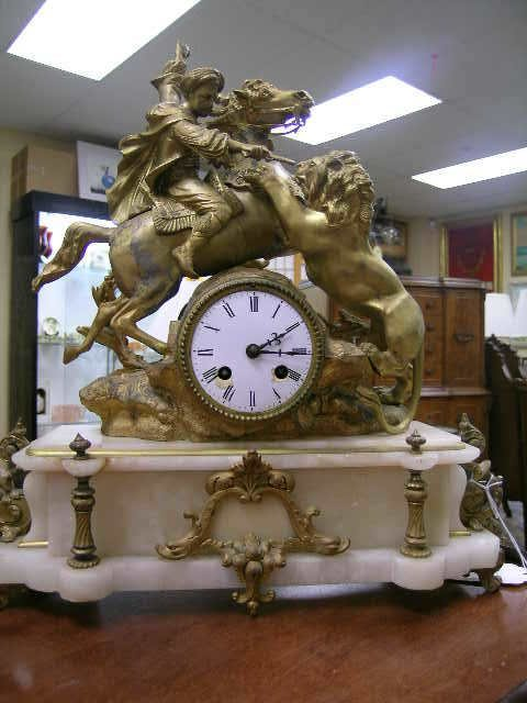 23: ANTIQUE FRENCH GILT ALABASTER LION HORSE CLOCK